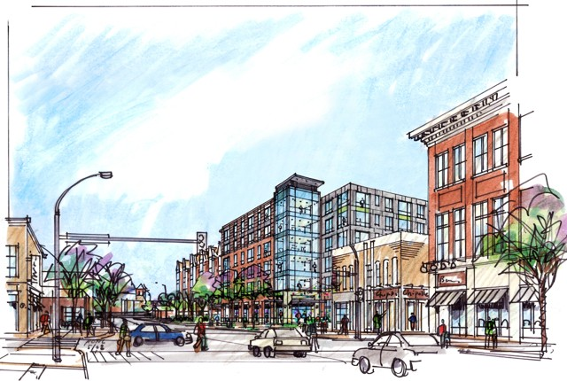 A rendering of the completed Campus Crossroads.