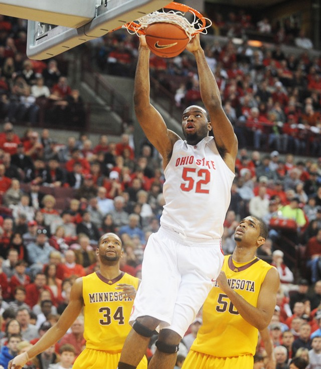 Ohio State forward Dallas Lauderdale slam dunks during a game against the Gophers in on Sunday Columbus, Ohio. The Gophers lost 63-85.