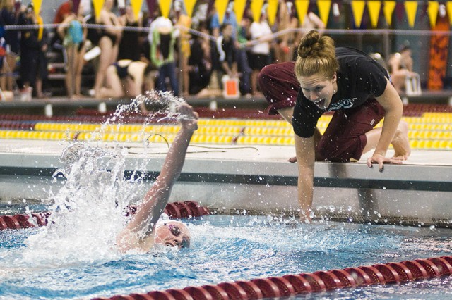 Minnesota's Andrea Hanson competes in the women's 500 freestyle event at the Minnesota Challenge on Friday at the University Aquatic Center.