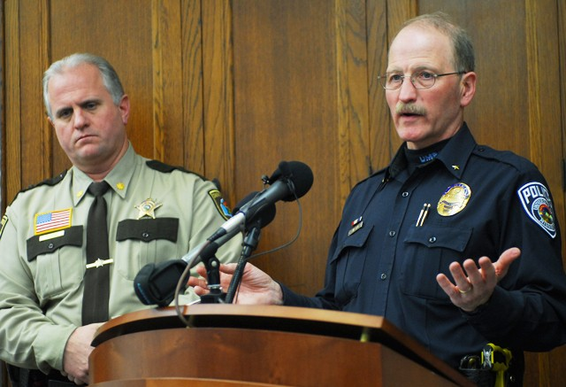 University Police Chief Greg Hestness discusses details of the shooting outside Centennial Hall during a press conference Thursday at Morill Hall. Minneapolis police have arrested two men connected to the shooting.