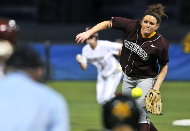 Minnesota's Lacey Middlebrooks pitches against Arkansas on Saturday at the Metrodome Softball Classic. The Gophers softball team beat Arkansas 4-1.
