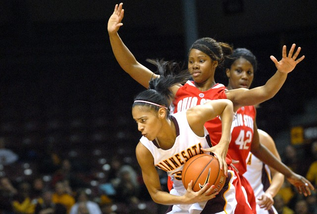 Minnesota sophomore guard Kiara Buford drives against Ohio State freshman guard Tayler Hill on Sunday at Williams Arena.  The Gopher's lost against the Big Ten's leading team 59-64.