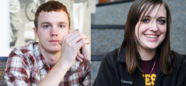 Left: Andrew Pederson is president of DFL at the U of M. Right: Juliana Feldhacker is president of College Republicans.