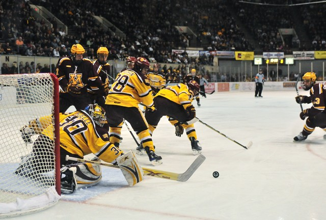 The Gophers attempt to score Saturday against the Bulldogs in Duluth. The Gophers lost the game 0-3 to the Bulldogs.