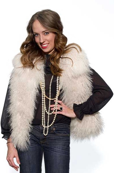 MSP style editor Melissa Colgan in her prized Mongolian lamb vest. PHOTO COURTESY MELISSACOLGAN/MSP STYLEPARLOR BLOG