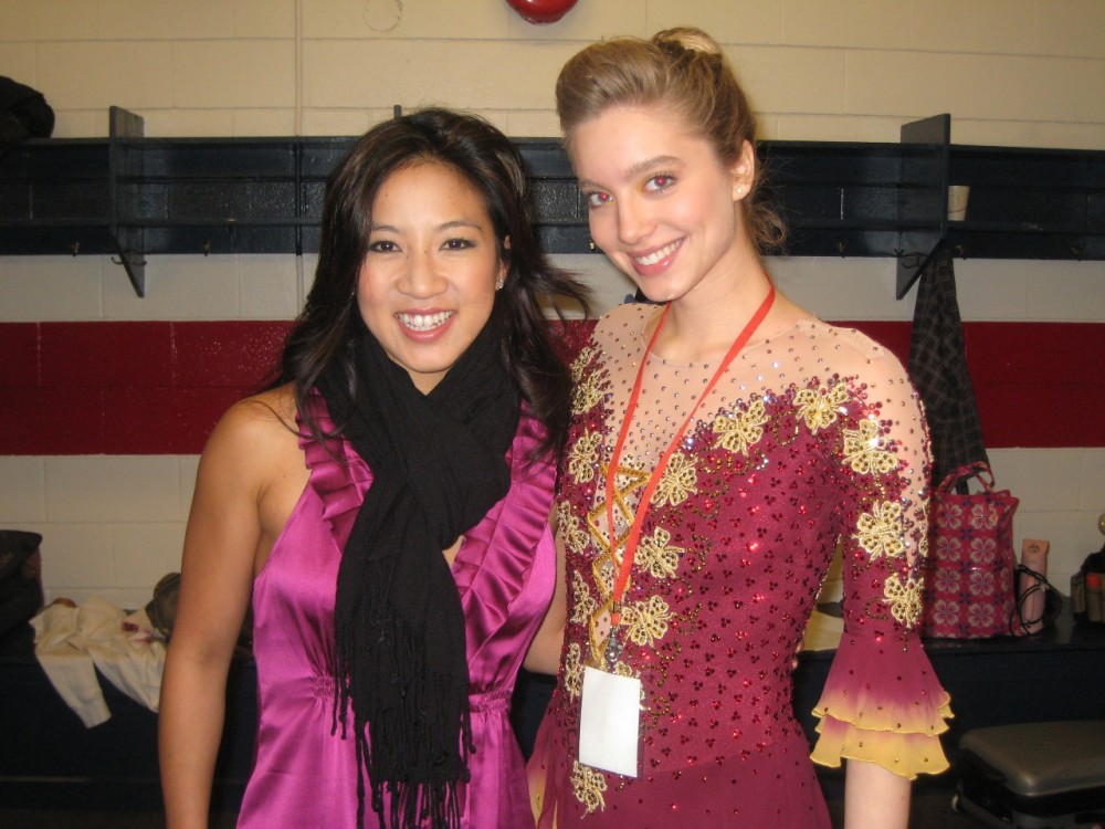 "Oberstar with Michelle Kwan, who had a cameo in the remake of ""Ice Castles.""