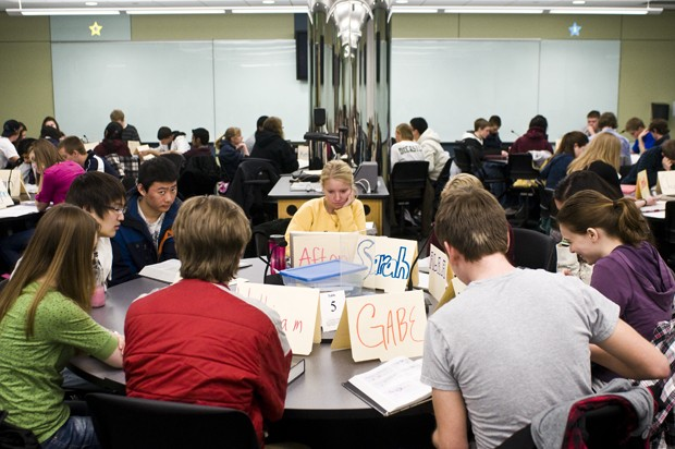Students work Monday during their Foundations of Biology class. The newly formatted class is taught in a hands-on format and gives students who did poorly on a paper or lab chances to correct their work.