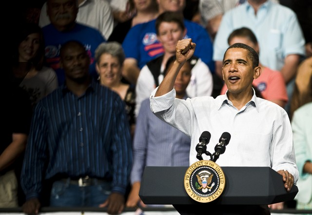 President Barack Obama speaks about health care during a rally held September 12, 2009, at the Target Center.