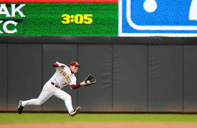 Gophers sophomore short stop Troy Larson catches a hit ball on Saturday at Target Field.