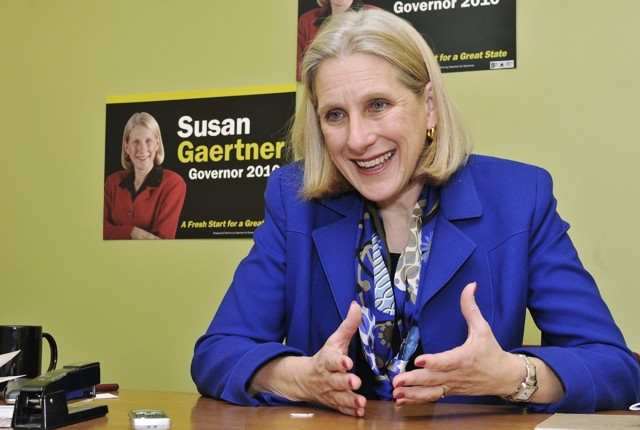 Gubernatorial candidate Susan Gaertner talks about her campaign to the capitol Friday at her office in St. Paul.