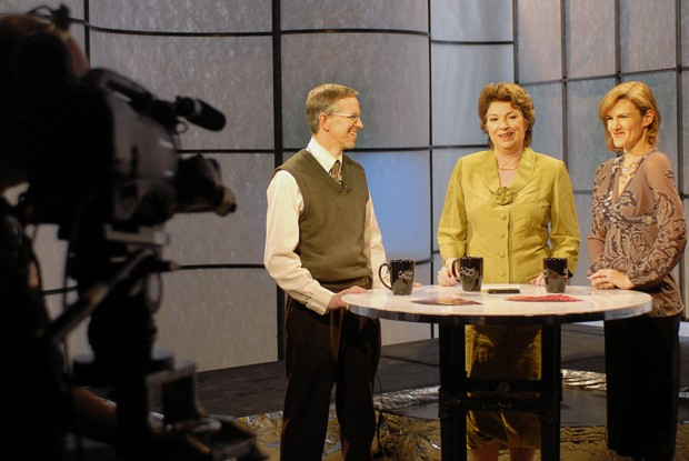 """University professors Kirk Allison, left, Patricia Simmons and Margaret Werry, right,  talk about stem cell research while filming the University-sponsored  television program """"Driven to Discover: The Research Series"""" on Friday at the Rarig Center.  The show discusses past and present research from the University."""