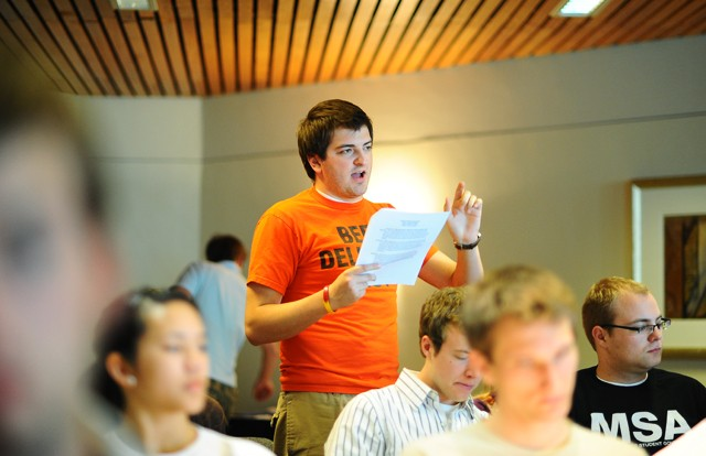 Paul Buchel speaks during the MSA meeting on Tuesday in the St. Paul Student Center.