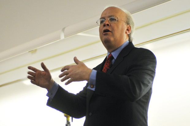 Senior advisor to the Bush administration and author Karl Rove speaks to the University of Minnesota College Republicans at Smith Hall on Thursday.  After his lecture, Rove signed copies of his new book,