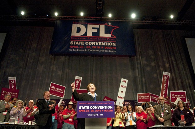 Speaker of the House Margaret Anderson Kelliher speaks after winning the DFL-Party endorsement on Saturday at the DFL Party Convention in Duluth.