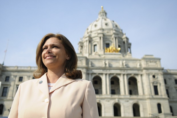 State Senator Tarryl Clark stands in front of the Capitol in St. Paul Monday.  She is running for Michele Bachman's seat in Congress this year.