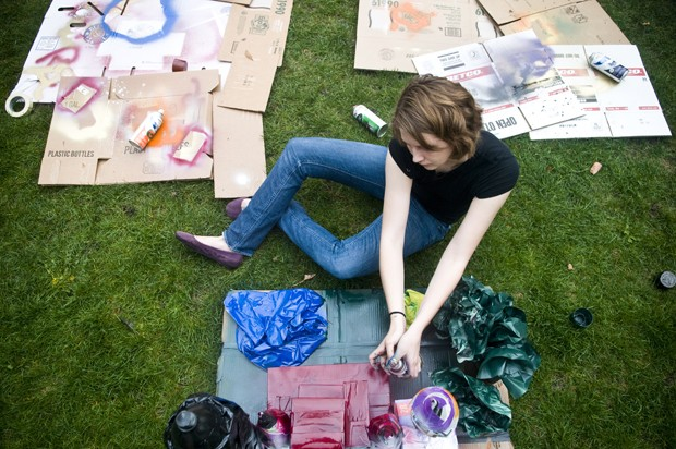 University first year Beth Burton works on a castle as a park of Harry Potter week in the super block.