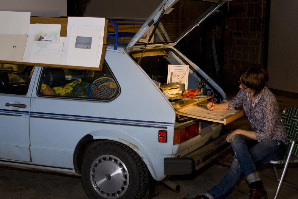 MFA graduate Virginia Maki brought her drawing station, her car, right into the gallery.