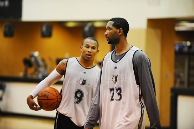 Johnson and Westbrook work out with the Wolves