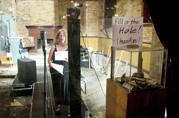 Maren Ward, host of the 'Hole-a-thon', speaks into a camera Thursday at the Bedlam Theater.