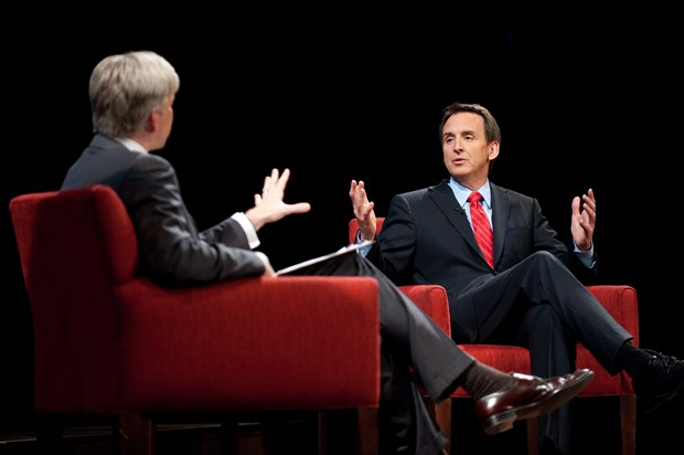 Meet the Press host David Gregory, left, interviews Minnesota Govenor Tim Pawlenty, right, on Thursday at the University of Minnesota in the Ted Mann Concert Hall.