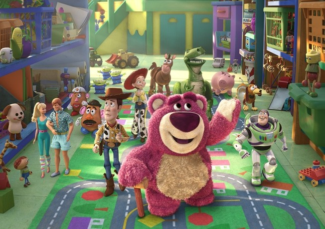 Lotso shows off the toys' new digs.
