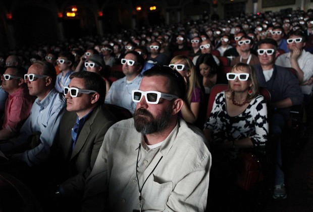 14 June 2010- Los Angeles, CA - The crowd wears 3-D glasses to view the video game