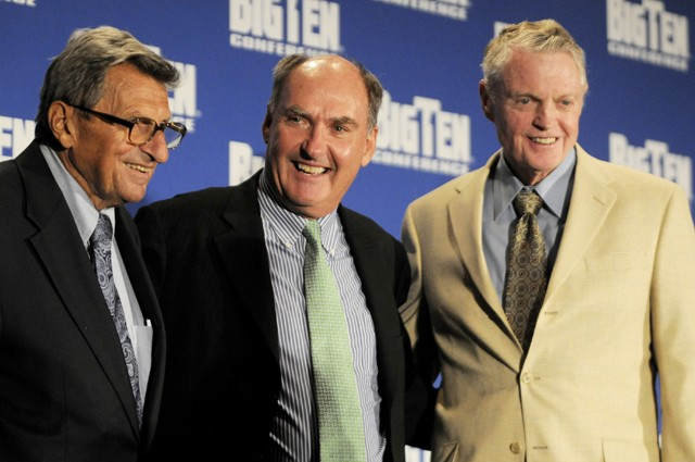 (Left to right) Penn State head coach Joe Peterno, Big Ten commissioner Jim Delany and Nebraska athletic director Tom Osborne at the Big Ten Media Days conference in Chicago in August.