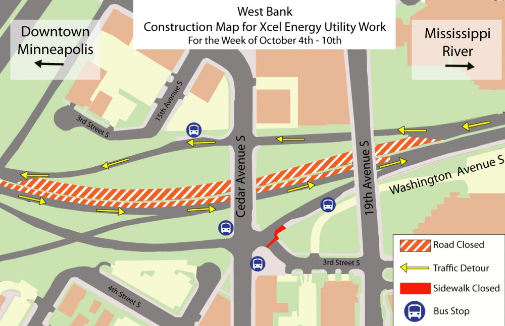 Traffic will be diverted on the West Bank next week due to light-rail line construction.
