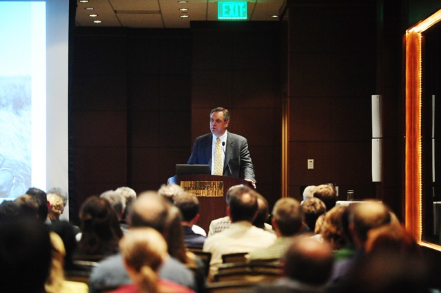 Roger Thurow gives his keynote speech for the Global Sustainable Bioenergy Conference Wednesday night at The Minneapolis Marquette Hotel.