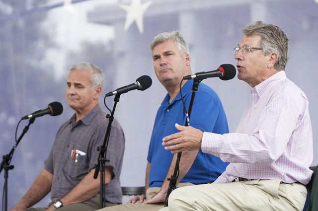 The major candidates for governor debate at the Minnesota State Fair on Saturday, Democrat Mark Dayton, left, Republican Tom Emmer, center, and IP candidate Tom Horner, right.  The candidates used the State Fair as a unique opportunity to reach voters and get their message out.