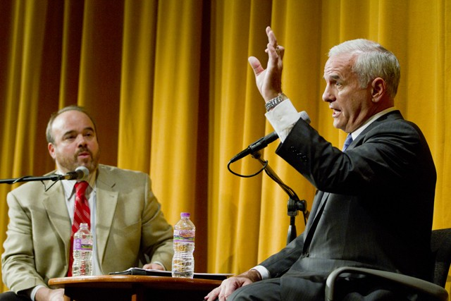 Professor Larry Jacobs (left) poses audience questions to DFL gubernatorial candidate Senator Mark Dayton on Monday at the Humphrey Institute of Public Affairs.