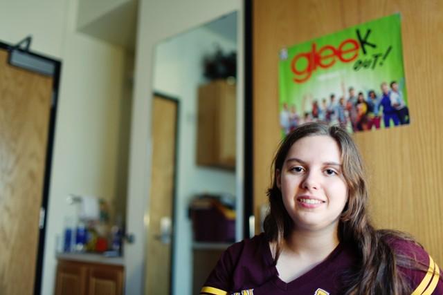 Freshman Ashley Sogla sits in her dorm room Saturday in Yudof Hall.