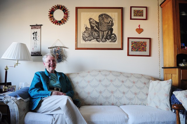 June Englund sitting in her room at Augustana Apartments of Minneapolis on Monday.  June has been an avid supporter of the med school students' presence and believes both parties gain a lot from their interactions.