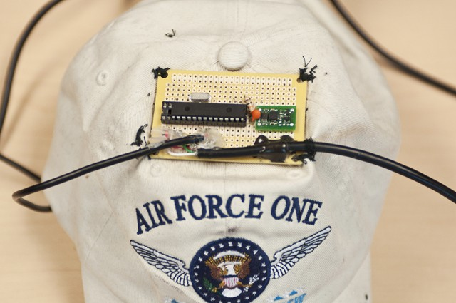 The brain of Gavin Ovsak's hands-free computer mouse, a small circuit board mounted onto a hat, also consists of a USB output and mouth operated clicker.