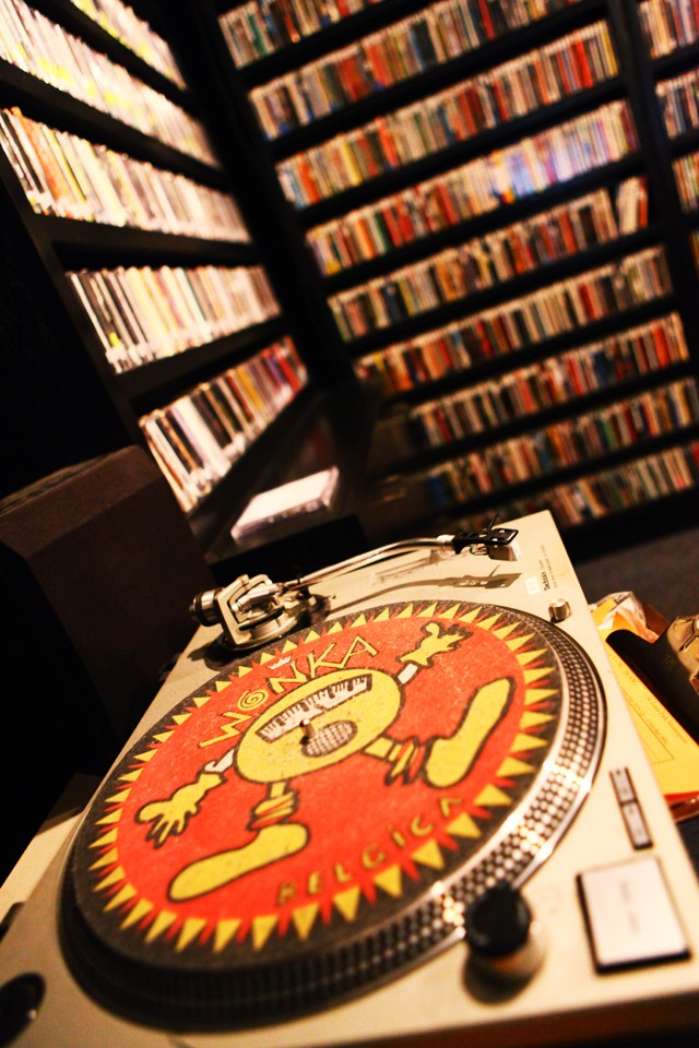 A turntable sits Friday in the Radio K studio.