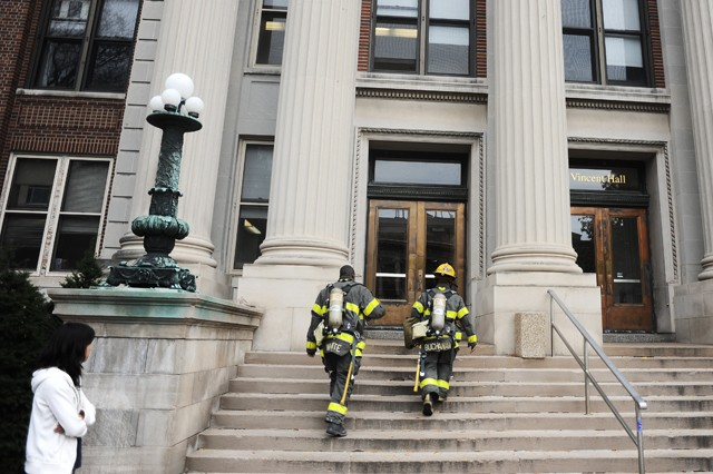Minneapolis Fire Department enters Vincent Hall to inspect a possible gas leak, Monday.