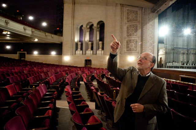 Senior Architect James Litshiem explains the plans for restoration on Tuesday in Northrop Auditorium.