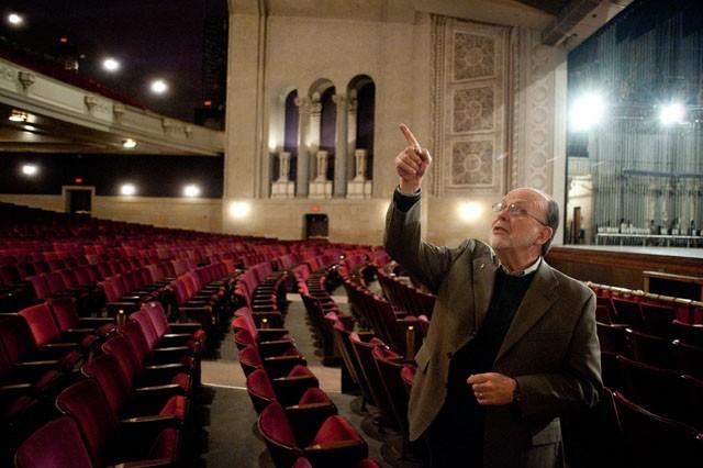 Senior Architect James Litshiem explains the plans for restoration on Tuesday in Northrop Auditorium.