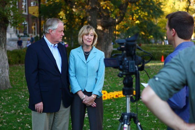 John and Nancy Lindahl are interviewed for the Driven to Discover campaign on Friday afternoon outside of Northrop Mall. They are part of the donation series which will focus on their gift which established the Nancy M. and John E. Lindahl Professorship for Excellence in Teaching and Learning.