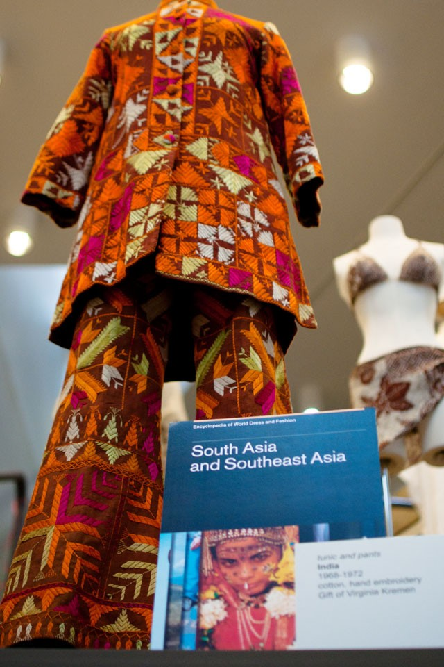 A dress from the South Asia and Southeast Asia Volume of the Encyclopedia of World Dress and Fashion is displayed in McNeal Hall on the St. Paul Campus.
