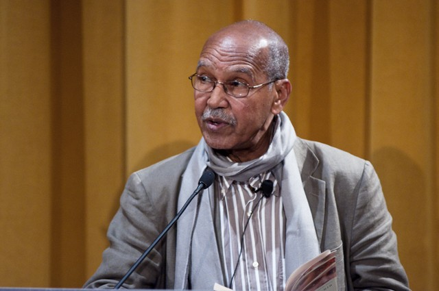 Nuruddin Farah, the current College of Liberal Arts Winton Chair holder, reading selections from three of his many novels on Friday night in the Humphrey Institute on Campus.