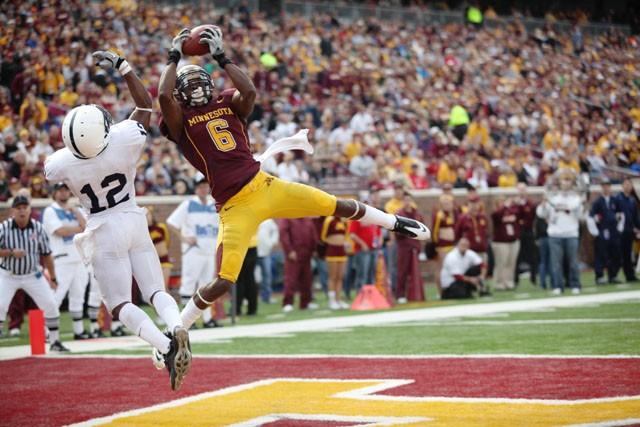 Junior Wide Receiver Da'Jon McKnight scores a touchdown against Penn State on Saturday at TCF Bank stadium.