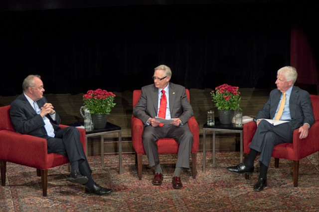 Robert Berdahl (left) and Jonathan Cole (right) speak with Robert Bruininks (center) on Thursday in Ted Mann Concert Hall to discuss the future of the great American university at a homecoming edition of Great Conversations.