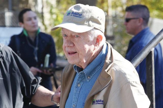 Former President Jimmy Carter speaks at the 2010 Jimmy & Rosalynn Carter Work Project on Wednesday at 6th st and 31 Ave N. The Project is part of President Carter's foundation Habitat for Humanity, which seeks to help build, renovate or repair homes for those who need affordable housing.