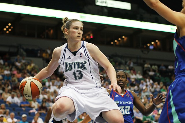Minnesota Lynx guard Lindsay Whalen plays against the New York Liberty August 8 at the Target Center.