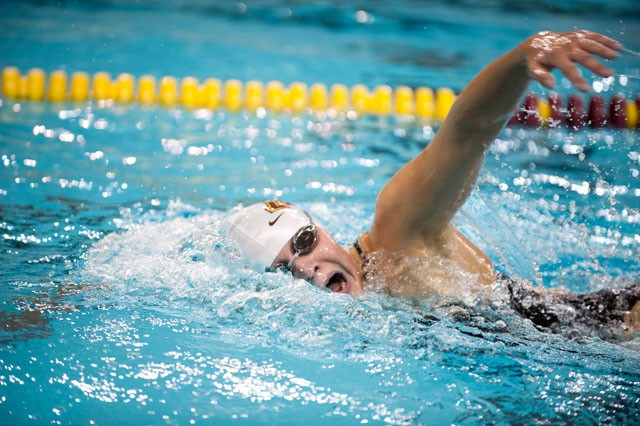 Kaela Anderson competes in the 1000 freestyle, Saturday at the University Aquatic Center.
