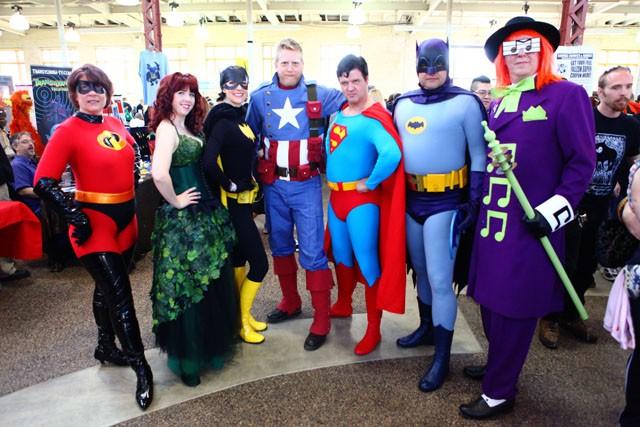 Debbie Eck (Mrs. Incredible), Holy Luckes (Poison Ivy), Angela Polk (Batgirl), Damen Thrift (Captain America), Greg Carlson (Superman), John Witt (Batman), Yancey Thrift (Music Meister) are members of the Minnesota Super Heroes United.