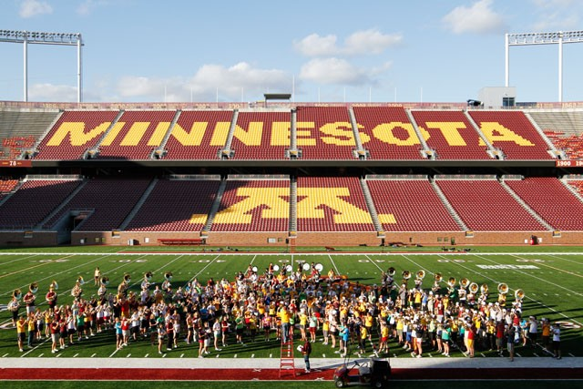 The University of Minnesota Marching Band practices at the TCF Bank Stadium Tuesday