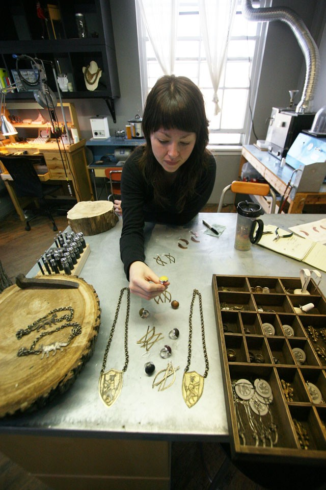 Jewelry artist Lauren Neal discusses her work.  She is excited to appear behind her artwork and talk about her process to customers for the first time at the bazaar.