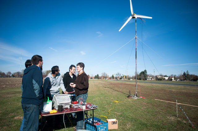 University group Incredible Engineers runs tests on their wind turbine on Saturday in St. Paul. The group built the turbine out of common objects and is sending it to Nicaragua.